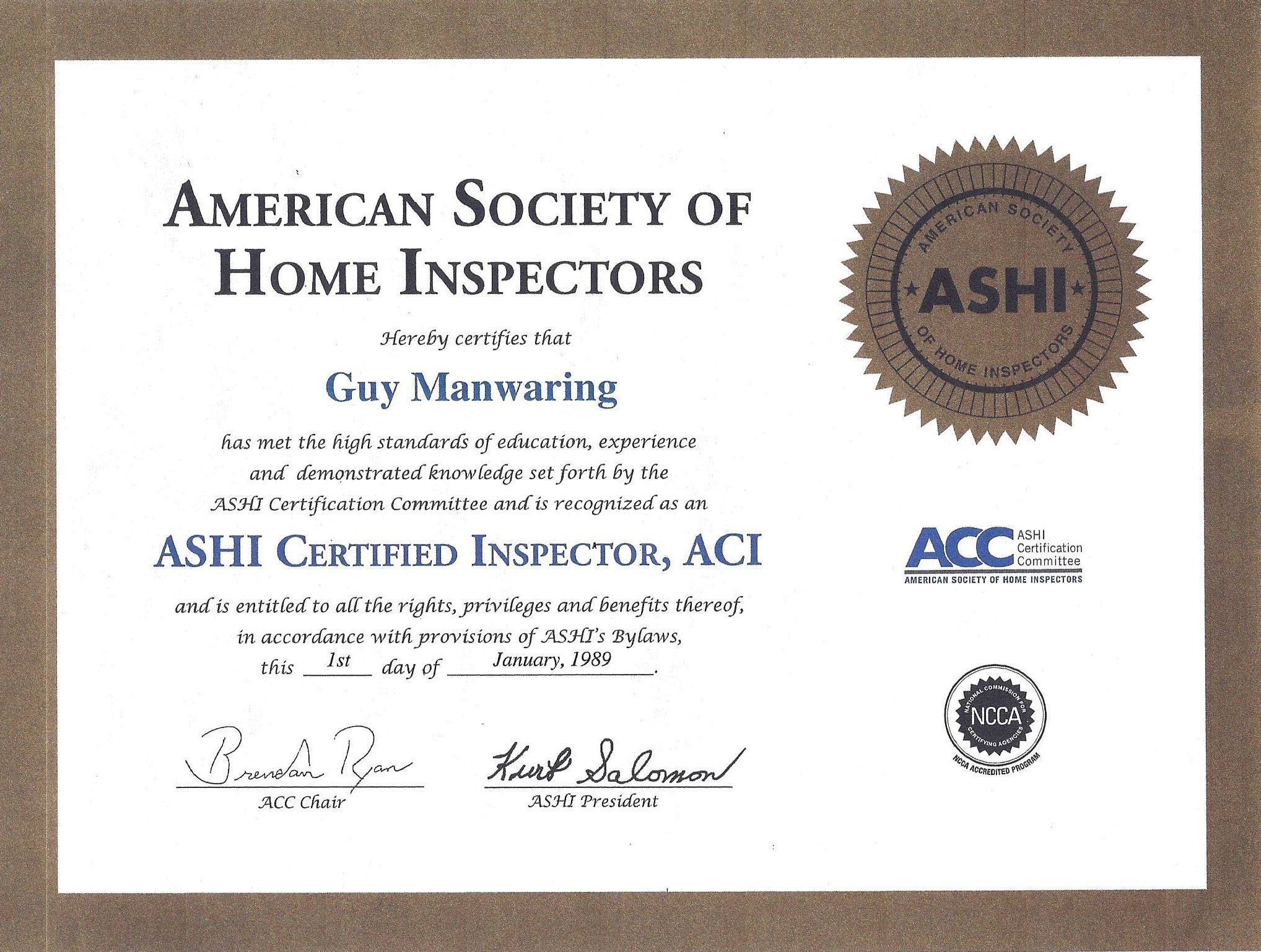 Certified Home Inspection Appraisal Service Call Guy Before You